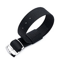 20mm or 22mm MiLTAT RAF N7 3-D Woven Nylon Nato Watch Strap, Matte Black, Polished Ladder Lock Slider Buckle, фото 1