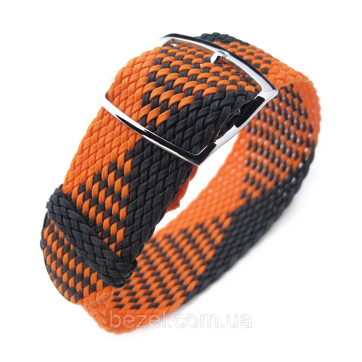 20, 22mm MiLTAT Perlon Watch Strap, Black & Orange, Polished Ladder Lock Slider Buckle