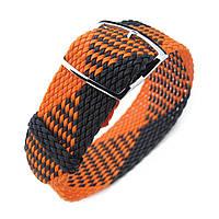 20, 22mm MiLTAT Perlon Watch Strap, Black & Orange, Polished Ladder Lock Slider Buckle, фото 1