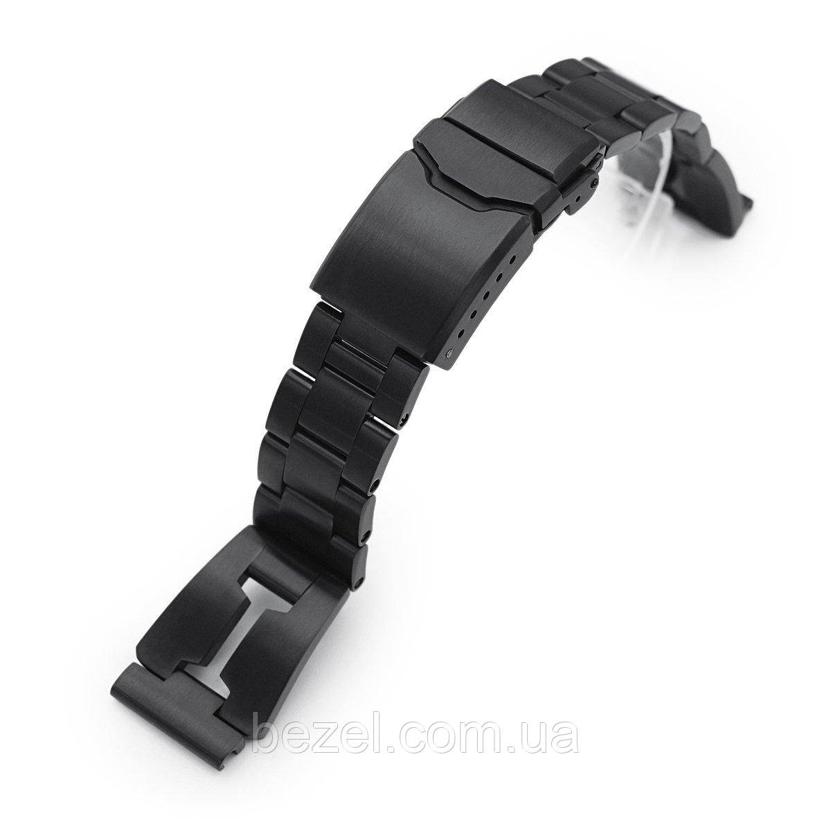 20mm Reissue Retro Razor 316L Stainless Steel PVD Black Watch Band, Button Chamfer