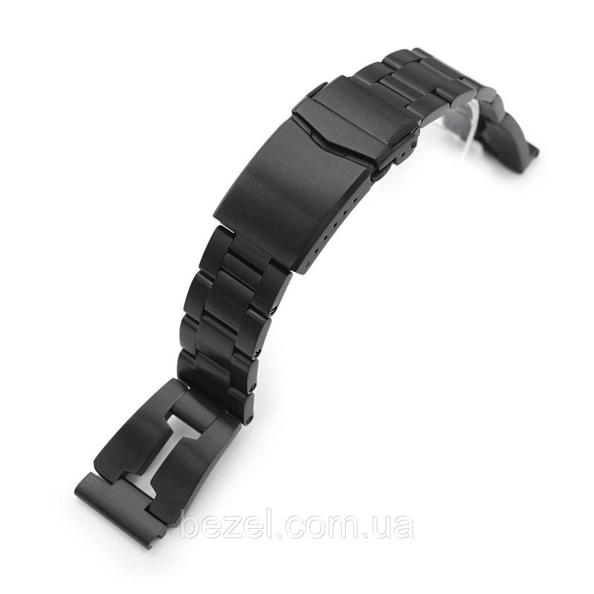 20mm Reissue Retro Razor 316L Stainless Steel PVD Black Watch Band, V-Clasp Button Double Lock