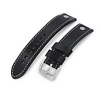 German made 22mm Sturdy Semi-gloss Black Saddle Leather with Rivet Watch Band, Brushed, фото 1