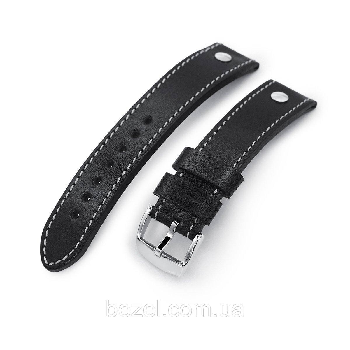 German made 22mm Sturdy Semi-gloss Black Saddle Leather with Rivet Watch Band, Polished