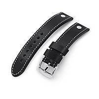 German made 22mm Sturdy Semi-gloss Black Saddle Leather with Rivet Watch Band, Polished, фото 1