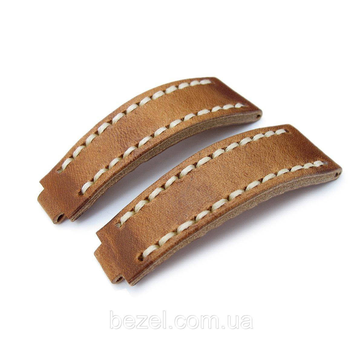 20mm MiLTAT RX Collection 'X' Watch Strap, Matte Brown Pull Up Leather, Beige St. Tailor-made for Rolex Submariner & Explorer