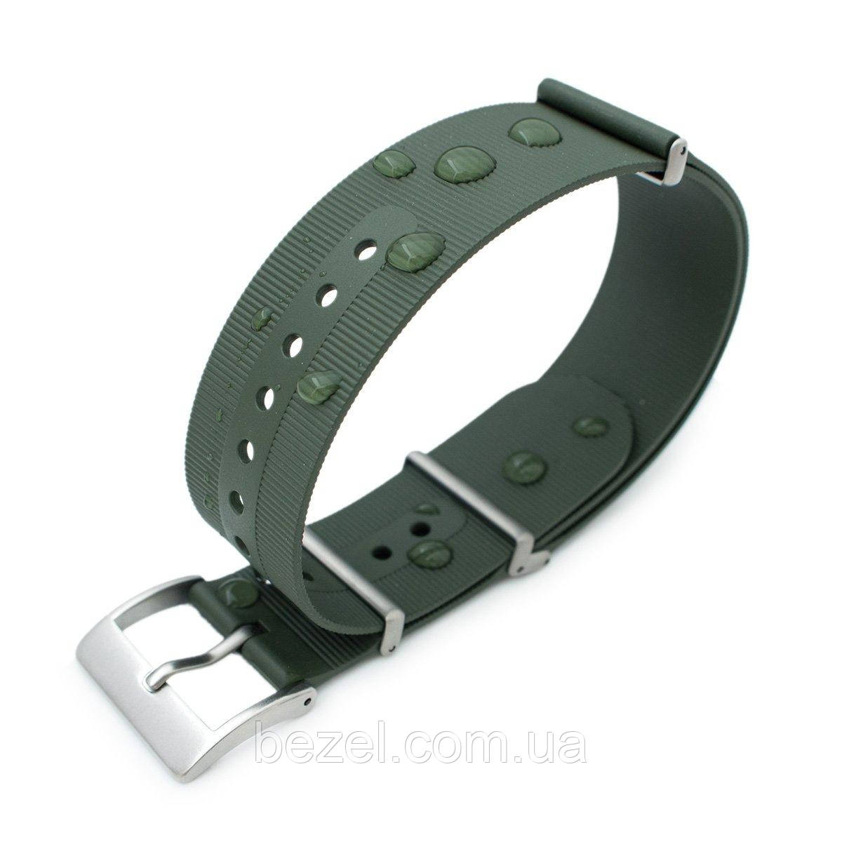 Rubber NATO 22mm G10 Waterproof Watch Band, Military Green, Sandblasted Buckle
