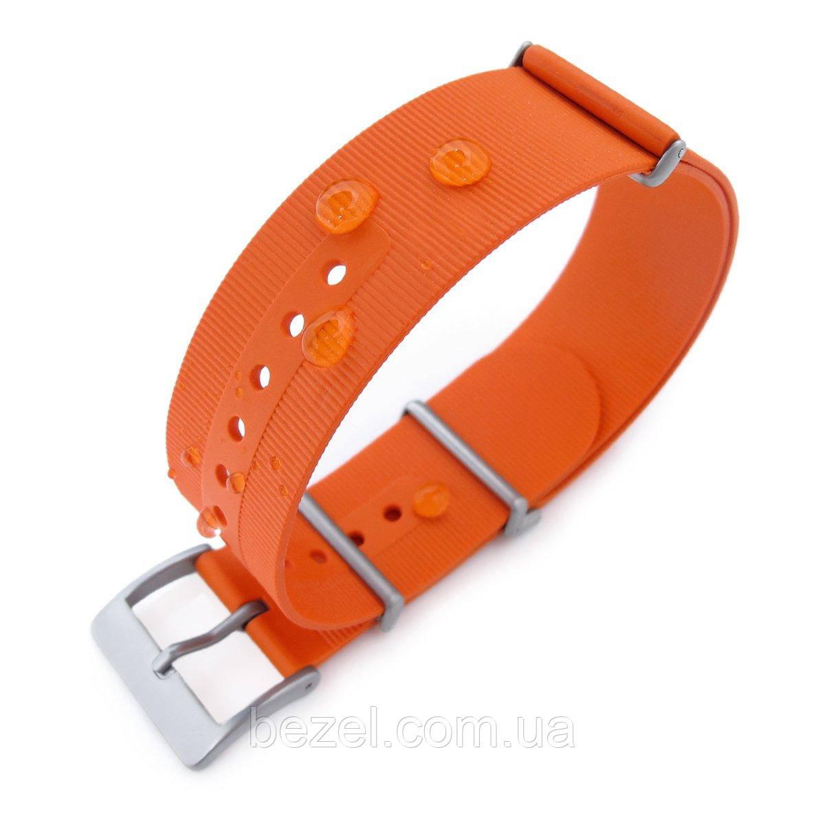 Rubber NATO 22mm G10 Waterproof Watch Band, Orange, Sandblasted Buckle