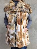 Жилет женский из натурального меха койота.