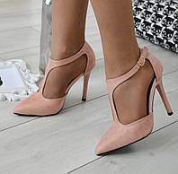 Туфлі жіночі на каблуку пудрові екозамша., фото 1
