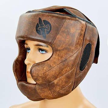 Шлем боксерский с полной защитой кожаный HAYABUSA KANPEKI (коричневый, р-р M-XL)