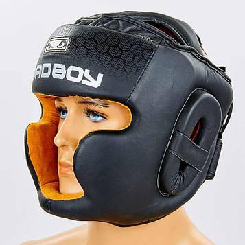 Шлем боксерский с полной защитой кожаный BAD BOY (черный, р-р M-L)