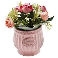 """Композиция из искусственных цветов в горшке """"Pretty Roses"""" 10*17см"""