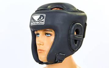 Шлем боксерский открытый с усиленной защитой макушки кожаный BAD BOY (черный, р-р M-XL)