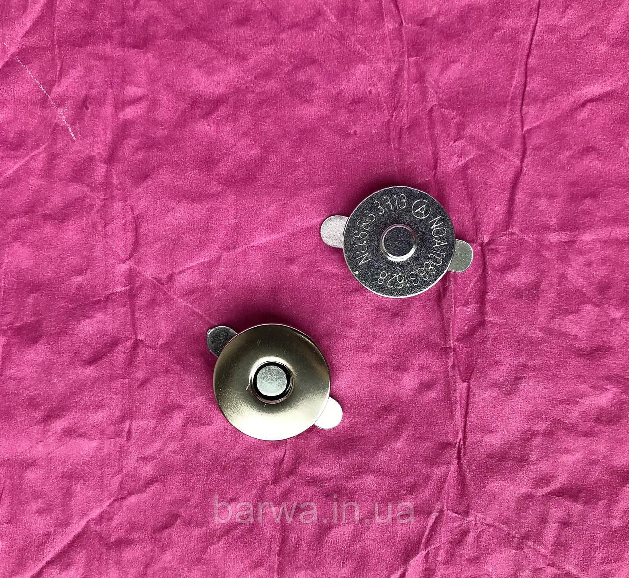 """Кнопка магнитная на """"усиках"""", 18 мм, цвет никель"""
