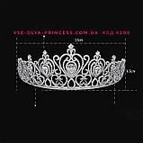 Корона, диадема, тиара под серебро, высота 6,5 см., фото 5