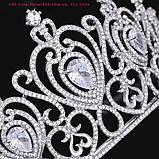 Корона, диадема, тиара под серебро, высота 6,5 см., фото 4
