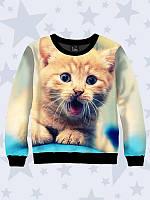 Детский свитшот Зевающий котик, фото 1
