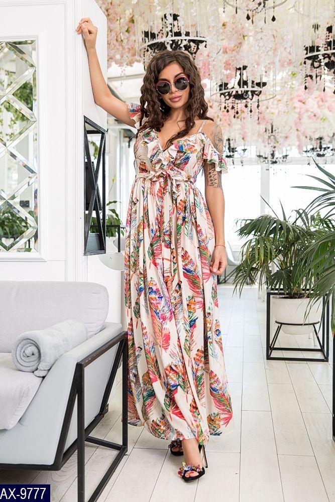 1170f4184dc Летнее женское платье сарафан большого размера принтом