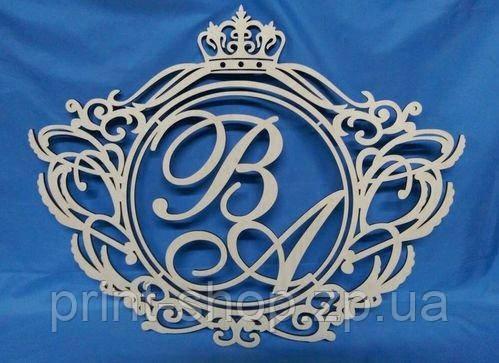 """Монограмма, Свадебный семейный герб. Герб на свадьбу. Деревянное украшение стола. """"Сердце №1"""""""