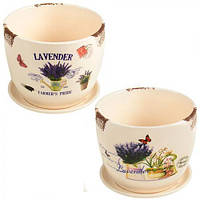 """Цветочный горшок керамика круг """"Lavender"""" д12*10см"""