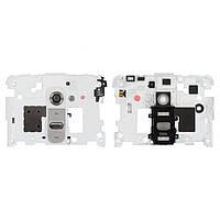 Средняя часть корпуса LG G2 белая (кнопка включения, стекло камеры в комплекте), Середня частина корпуса LG G2 біла (кнопка включення, скло камери в