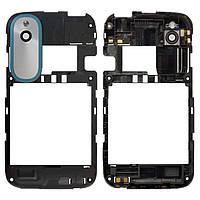 Рамка корпуса HTC Desire X T328e черная (стекло камеры, синяя накладка, антенна в сборе), Рамка корпусу HTC Desire X T328e чорна (скло камери, синя