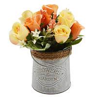 """Искусственные цветы в горшке """"Roses"""" 20*10см"""