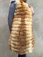 Жилет длинный из меха рыжей лисы., фото 1