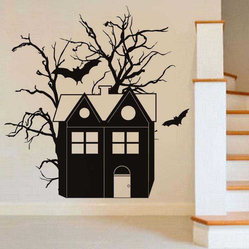 CreativeХэллоуинHauntedHouseBatПВХ Водонепроницаемы Стикер стены Съемные виниловые наклейки Art Art - 1TopShop