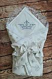 Конверт  с кружевом и вышивкой  Корона для новорожденных весна-лето-осень, фото 2