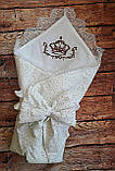 Конверт  с кружевом и вышивкой  Корона для новорожденных весна-лето-осень, фото 3