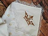 Конверт  с кружевом и вышивкой  Корона для новорожденных весна-лето-осень, фото 4