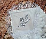 Конверт  с кружевом и вышивкой  Корона для новорожденных весна-лето-осень, фото 5