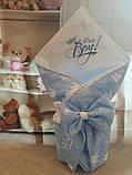 Конверт  с кружевом и вышивкой  Корона для новорожденных весна-лето-осень, фото 7