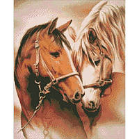 "Алмазная вышивка. ""Пара лошадей""  40*50см AM3003"