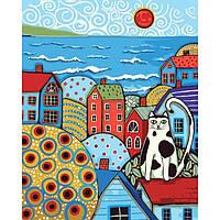 """Картина по номерам. Городской пейзаж """"Кот на крыше"""" 40*50см KHO2154"""