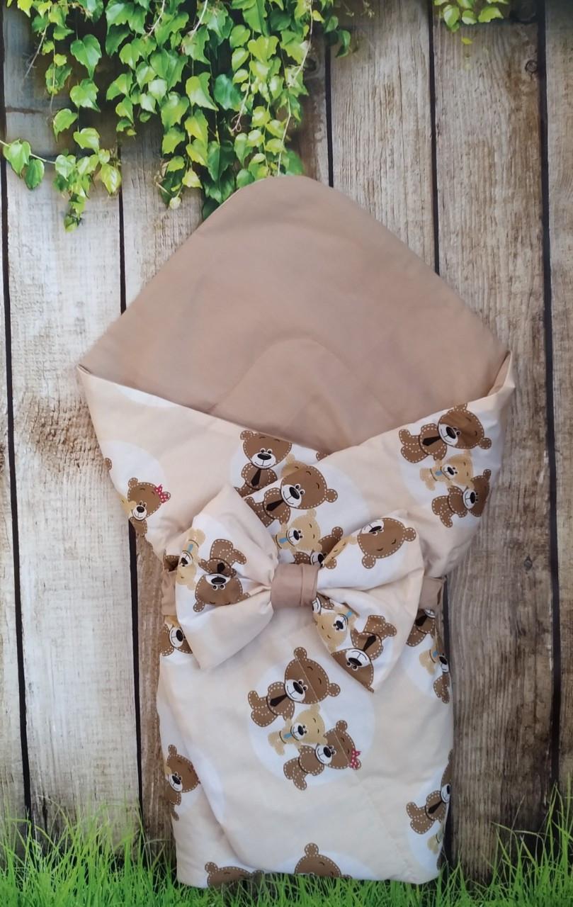 Конверт- одеяло для новорожденного всесезонный Мишки