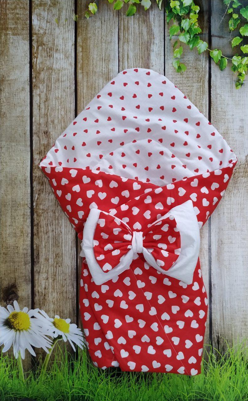 Конверт- одеяло  двухсторонний  всесезонный  Сердечки
