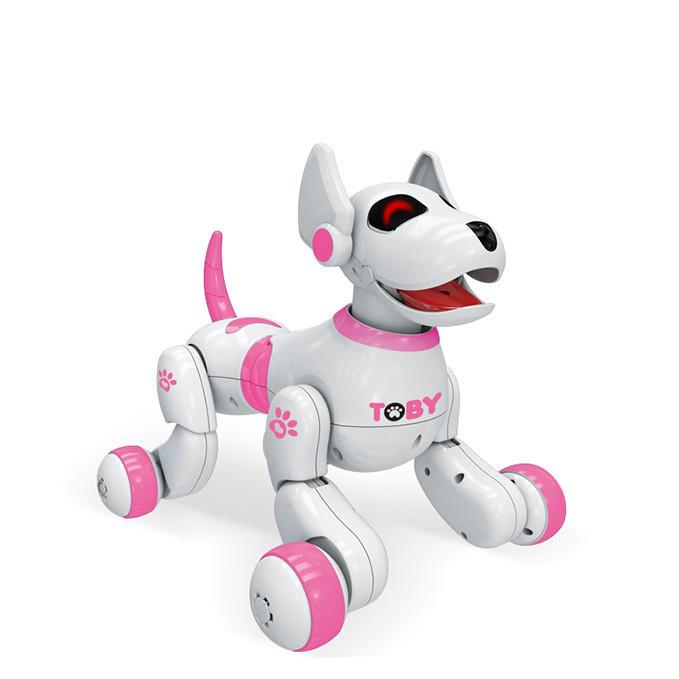 Собака 8205BLUE, 26см,р/у,реаг.на руку,аккум,муз,зв(англ),св,прогр,танц,USBзар,кор,32-25-23см ((Розовий))