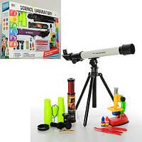 Набор игровой 7004A микроскоп, телескоп, бинокль, подзорн.труба, 12цвета, в кор-ке, 55-39-8см