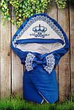 Конверт на выписку с вышивкой и кружевом для новорожденных, фото 2
