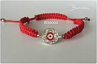 Браслет Шамбала (Shamballa) на красной нити с глазиком BD0002