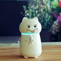 ✅ Настольный мини увлажнитель воздуха, LED подсветка -3 цвета (ночник, арома лампа, ароматерапия) Кошечка White