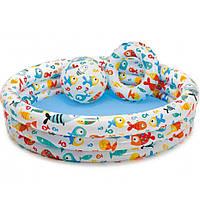 Детский бассейн 59469 Рыбки с мячом и кругом