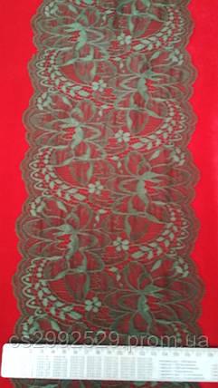 Кружево ажурное эластичное(1м.)хаки. Кружево стрейчевое, фото 2