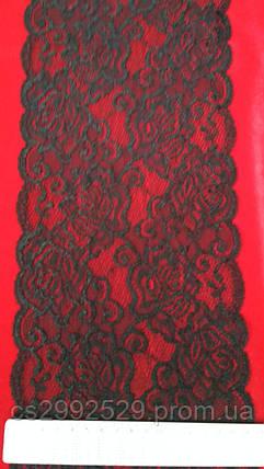 Кружево ажурное эластичное(1м.)чёрный. Кружево стрейчевое, фото 2