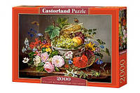 Пазлы Натюрморт с цветами и корзиной с фруктами на 2000 элементов