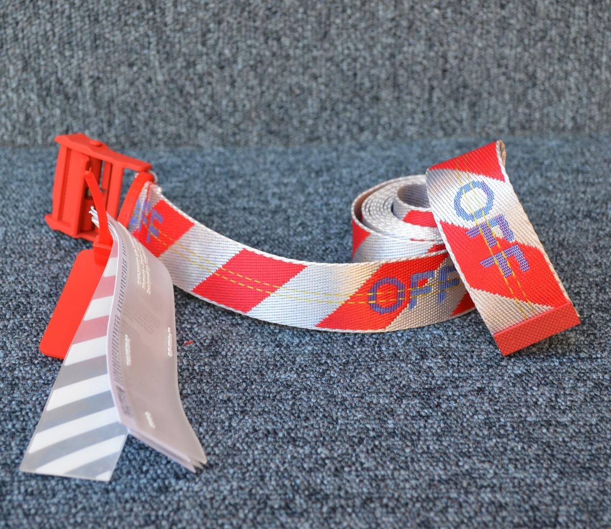 Ремень Off-White striped red-white, Реплика