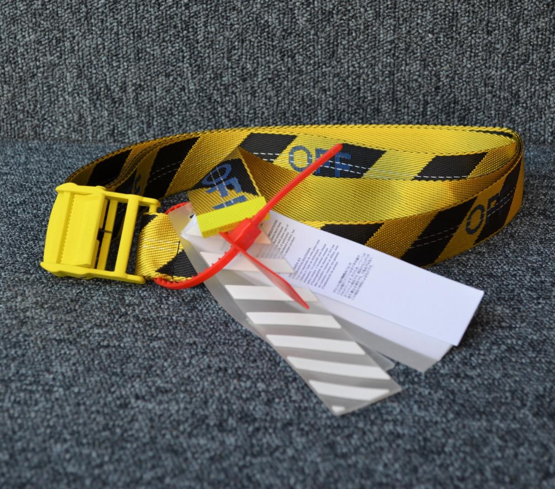 Ремень Off-White striped yellow-black, Реплика