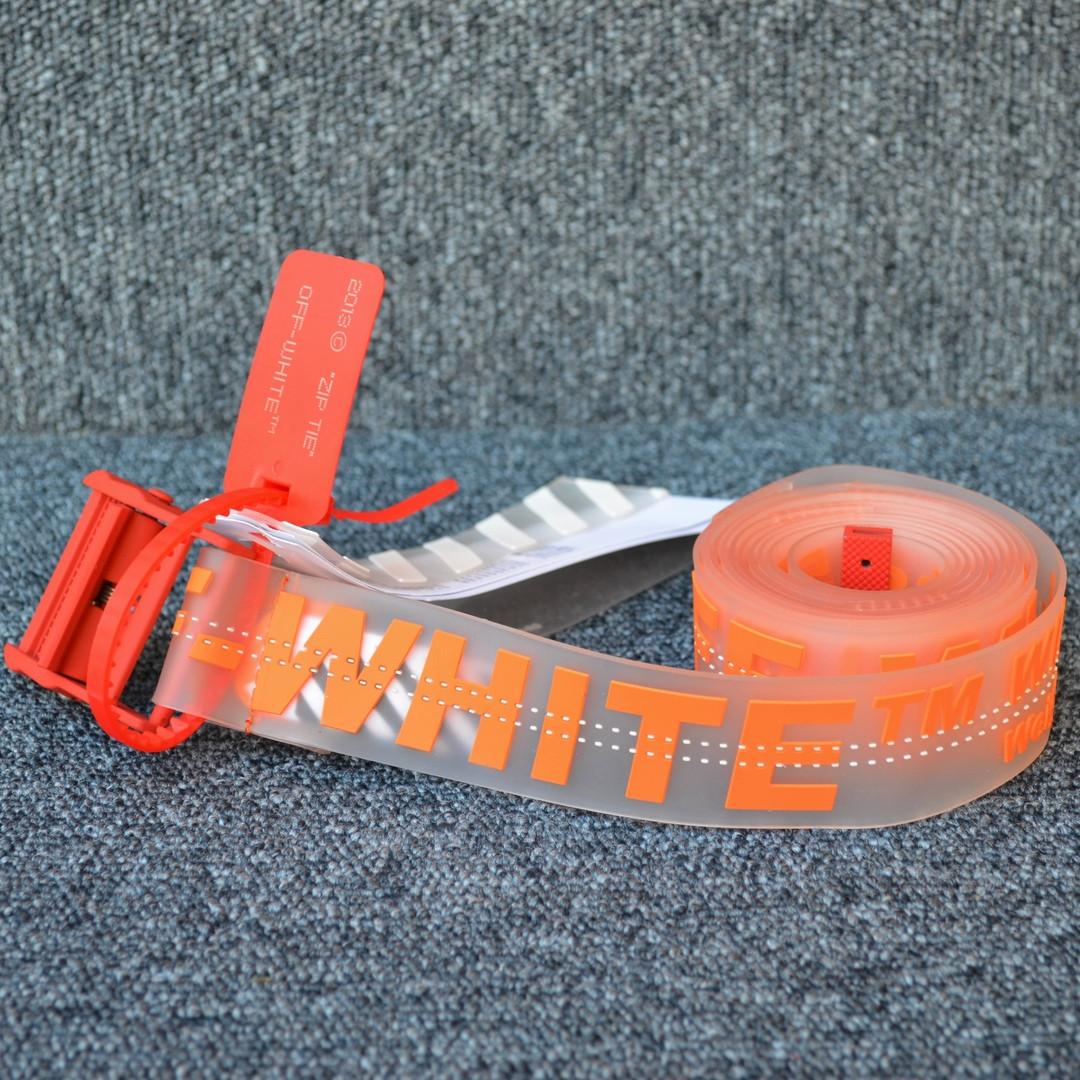 Ремень Off-White striped  orange lux, Реплика